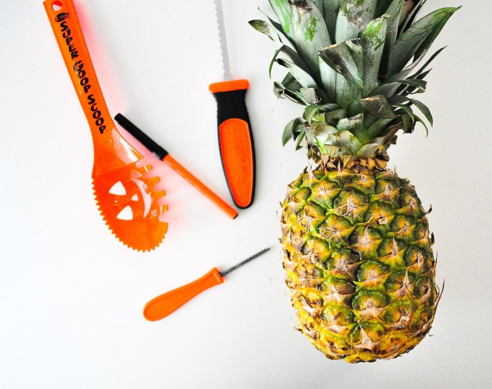 <p>Here's what you will need:</p> <ul> <li>Pineapple</li> <li>Sharp knife</li> <li>Carving saw</li> <li>Scraper</li> <li>Marker (optional)</li> <li>Stencils (optional)</li> <li>Candle</li> </ul>