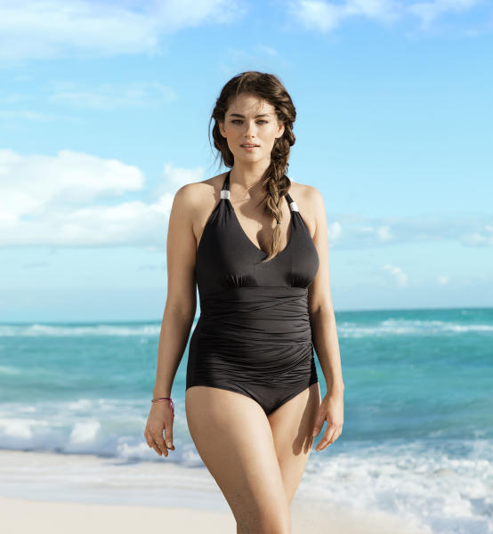 "This undated image provided by H&M shows plus-size model Jennie Runk, who is a size 12 or 14, in a swimsuit ad from 2012. The European-based retailer sells trendy clothing in the U.S. equivalent of sizes 1 throughout 16. ""Our aim is not to convey a certain message or show an ideal but to have a campaign which can illustrate the collection in an inspiring and clear way,"" said Andrea Roos, an H&M press officer. (AP Photo/H&M)"