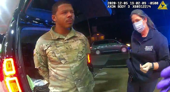 US Army Lieutenant Caron Nazario was driving his newly-purchased Chevy Tahoe home when two police officers pulled him over in Windsor, Va.on December 5, 2020.
