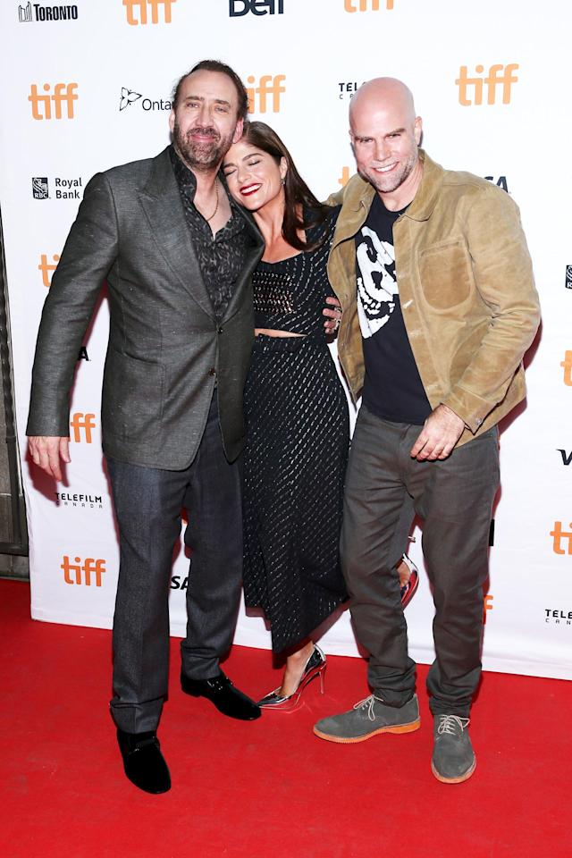 Cage, Blair, and <em>Mom and Dad</em>director Brian Taylor at the 2017 Toronto International Film Festival. (Photo: Phillip Faraone/Getty Images)