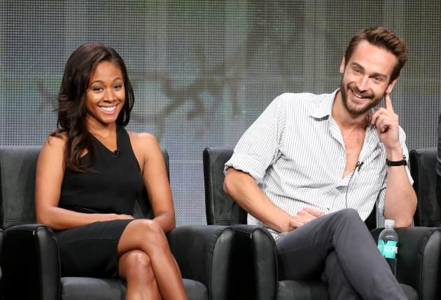"Nicole Beharie and Tom Mison speak onstage during the ""Sleepy Hollow"" panel discussion at the FOX portion of the 2013 Summer Television Critics Association tour - Day 9 at The Beverly Hilton Hotel on August 1, 2013 in Beverly Hills -- Getty Images"