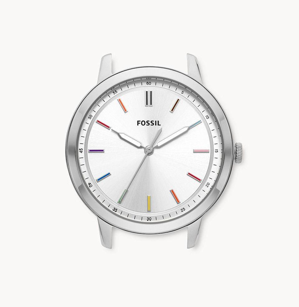 """<p><strong>Fossil</strong></p><p>fossil.com</p><p><strong>$89.00</strong></p><p><a href=""""https://go.redirectingat.com?id=74968X1596630&url=https%3A%2F%2Fwww.fossil.com%2Fen-us%2Fproducts%2Flimited-edition-pride-minimalist-three-hand-watch-case%2FC181031.html&sref=https%3A%2F%2Fwww.esquire.com%2Flifestyle%2Fg36420031%2Fbest-pride-merch-2021%2F"""" rel=""""nofollow noopener"""" target=""""_blank"""" data-ylk=""""slk:Shop"""" class=""""link rapid-noclick-resp"""">Shop</a></p><p>Fossil raised the stakes for all other brands. On top of the fact that its Pride watch face is sleek and classic in appearance, the selling point here? One hundred percent of the proceeds from this collection are being donated to <a href=""""https://www.thetrevorproject.org/"""" rel=""""nofollow noopener"""" target=""""_blank"""" data-ylk=""""slk:the Trevor Project"""" class=""""link rapid-noclick-resp"""">the Trevor Project</a>—the world's largest suicide prevention and crisis intervention organization for LGBTQ young people. <em>One hundred precent.</em></p>"""
