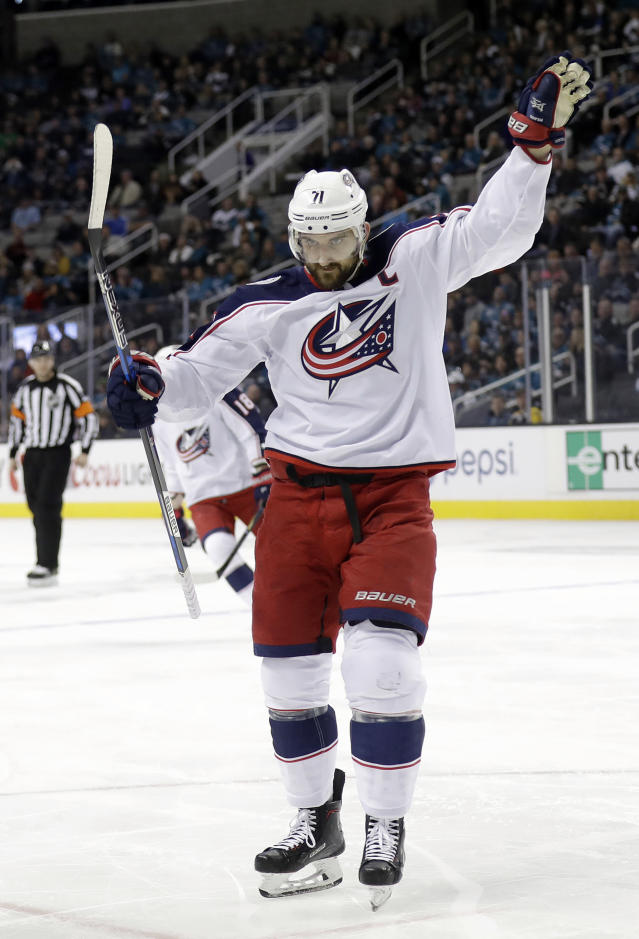 Columbus Blue Jackets' Nick Foligno (71) celebrates after scoring against the San Jose Sharks during the first period of an NHL hockey game, Sunday, March 4, 2018, in San Jose, Calif. (AP Photo/Marcio Jose Sanchez)