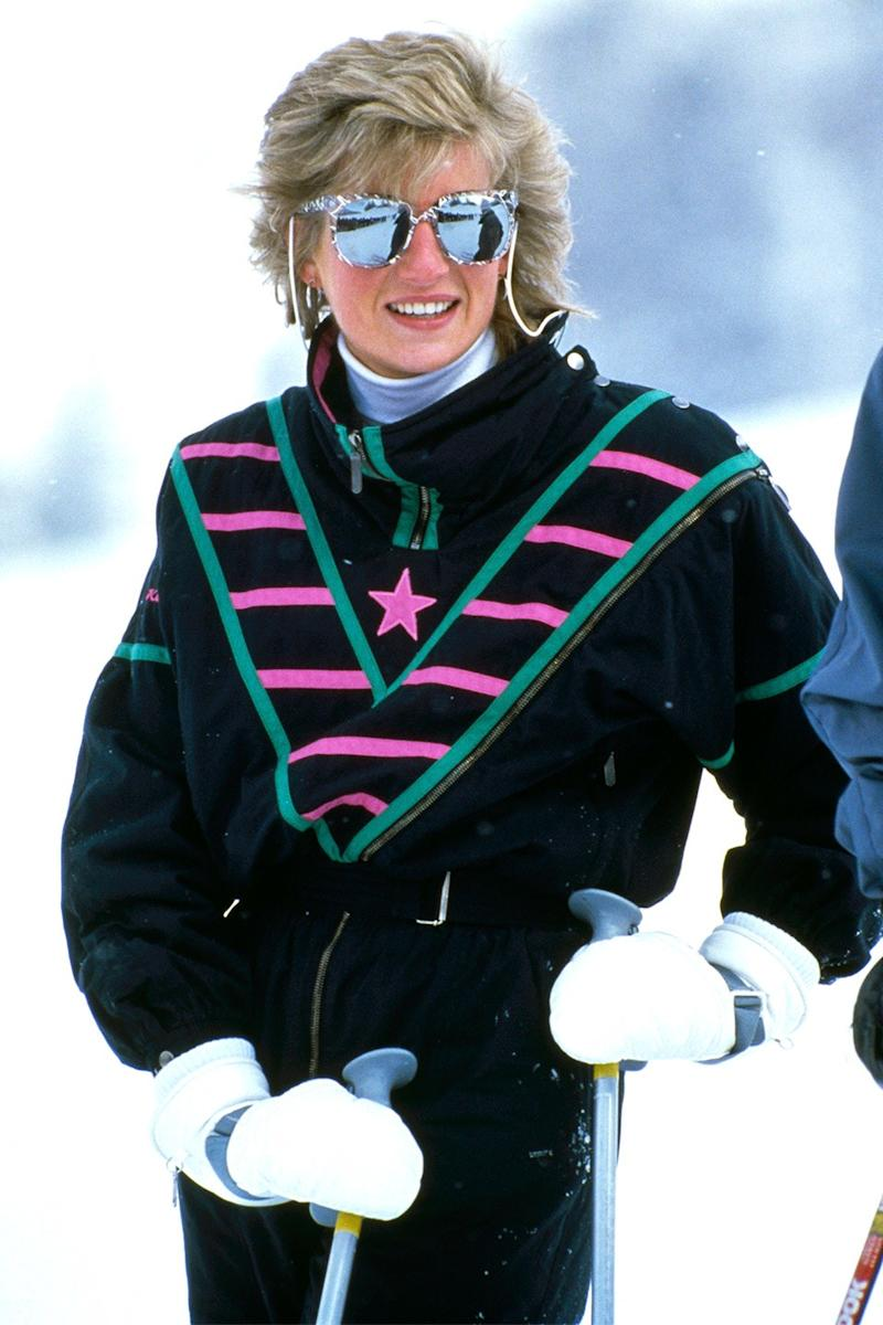 This is what ski style is. She's on holiday in Klosters, Switzerland.