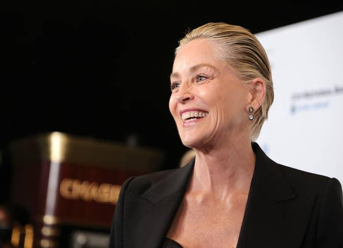Sharon Stone smiles while attending event