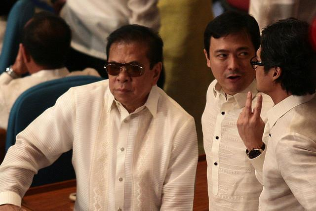 Ilocos Sur Governor Chavit Singson (L) attends the 3rd State of the Nation Address of Philippine President Benigno Simeon Cojuangco Aquino III at the House of Representatives in Quezon City, northeast of Manila, on 23 July 2012. (Voltaire Domingo/NPPA Images)
