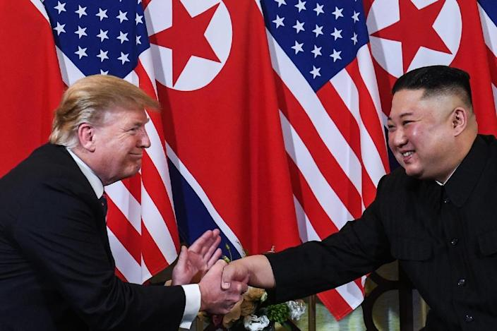 """North Korean leader Kim Jong Un (R, pictured February 2019) said he would """"seriously contemplate the interesting content"""" of US President Donald Trump's letter (AFP Photo/Saul LOEB)"""