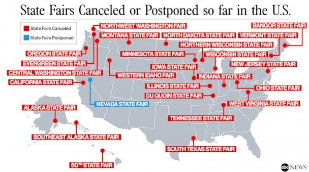State fairs canceled or postponed so far in the U.S. (ABC News Photo Illustration)