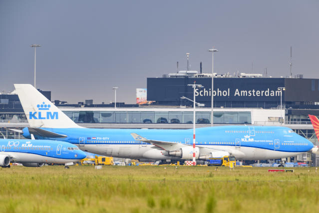 KLM airplanes in front of Schiphol Airport, near Amsterdam, the Netherlands. Photo: Sjoerd van der Wal/Getty Images