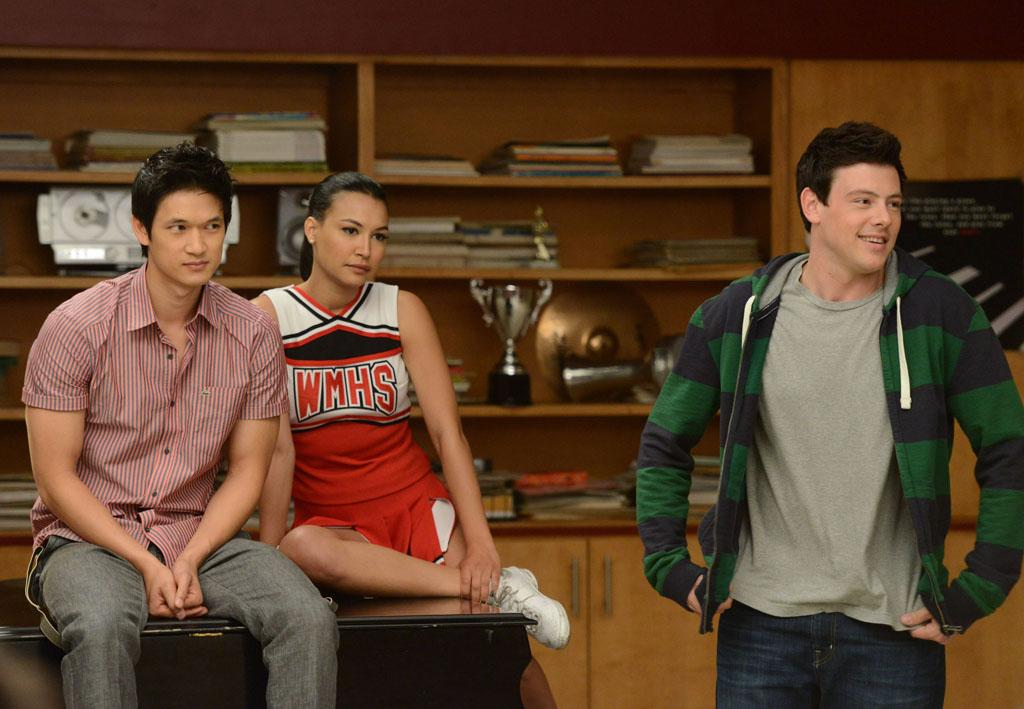 "Mike (Harry Shum Jr.), Santana (Naya Rivera) and Finn (Cory Monteith) perform for their under classmates in the ""Goodbye"" season finale episode of ""Glee."""