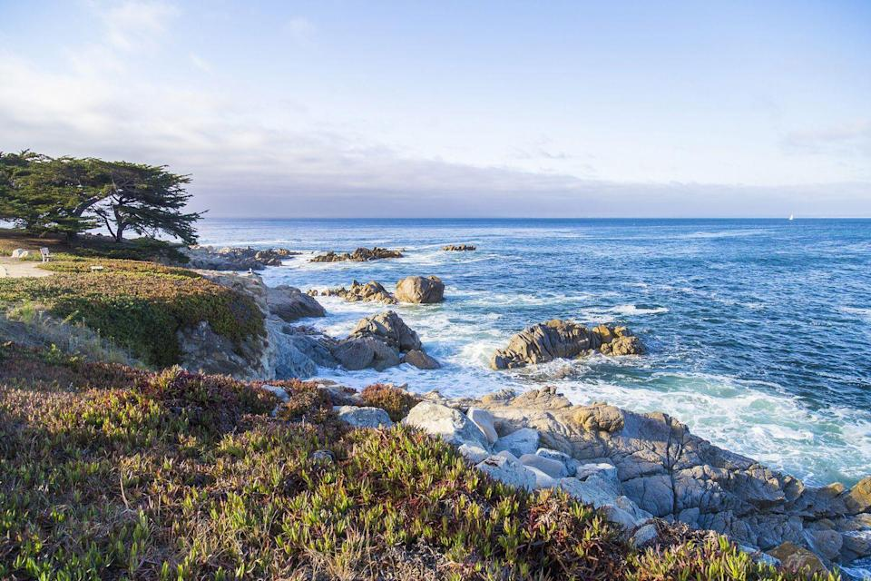 """<p>If you're looking for more of a low key beach trip that doesn't compromise on beauty, head to Monterey Bay in southern California. The <a href=""""https://www.seemonterey.com/things-to-do/outdoors/surfing/#:~:text=The%20area%20is%20well%20protected,State%20Park%20in%20Big%20Sur."""" rel=""""nofollow noopener"""" target=""""_blank"""" data-ylk=""""slk:popular surfing destination"""" class=""""link rapid-noclick-resp"""">popular surfing destination</a> attracts advanced riders to Carmel Beach, while beginners should enjoy the shallower waters of Del Monte Beach. Surfing aside, Monterey Bay area has plenty to do, including <a href=""""https://www.seemonterey.com/food-wine/wineries/monterey-wine-tasting/"""" rel=""""nofollow noopener"""" target=""""_blank"""" data-ylk=""""slk:wine tasting"""" class=""""link rapid-noclick-resp"""">wine tasting</a>, <a href=""""https://www.seemonterey.com/blog/post/7-hikes-to-take-your-breath-away-in-monterey-county/"""" rel=""""nofollow noopener"""" target=""""_blank"""" data-ylk=""""slk:breathtaking hikes"""" class=""""link rapid-noclick-resp"""">breathtaking hikes</a>, and golfing. </p>"""
