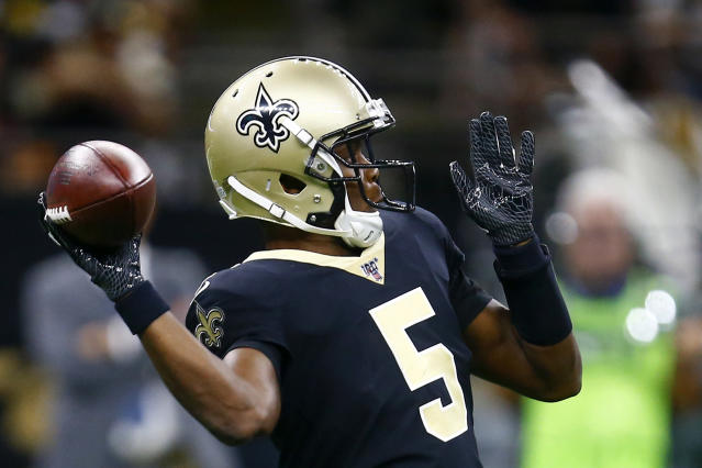New Orleans Saints quarterback Teddy Bridgewater (5) throws in the first half of an NFL football game against the Tampa Bay Buccaneers in New Orleans, Sunday, Oct. 6, 2019. (AP Photo/Butch Dill)