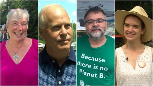 From left: Liberal candidate Bernadette Jordan, Conservative candidate Rick Perkins, Green candidate Thomas Trappenberg, NDP candidate Olivia Dorey. (CBC - image credit)