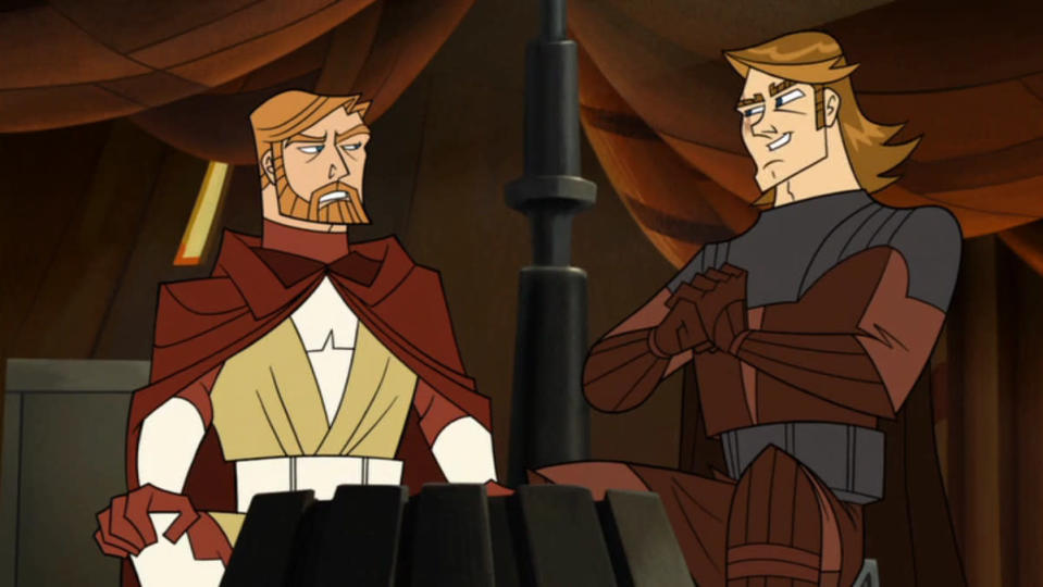 Anakin and Obi-Wan chat in Genndy's Clone Wars