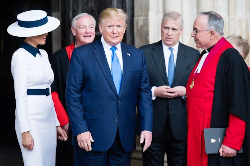 From left: First Lady Melania Trump with President Donald Trump and Prince Andrew at Westminster Abbey in June. | Samir Hussein/WireImage