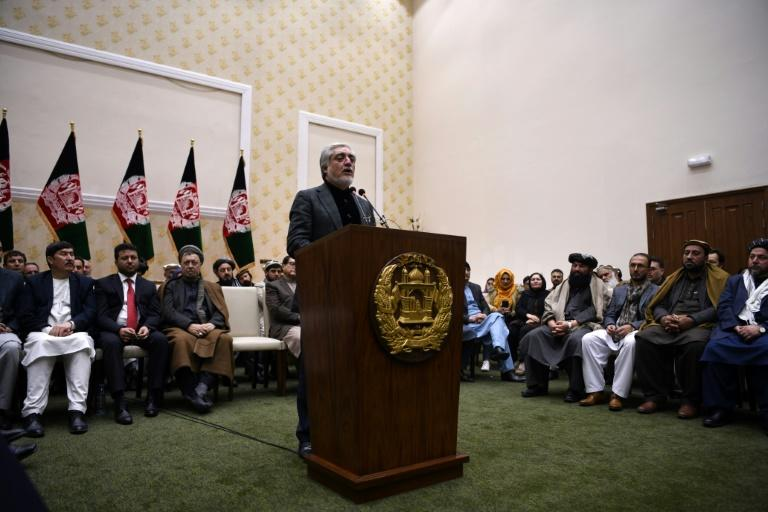 Abdullah Abdullah speaks at a press conference in Kabul after preliminary results showed that he had lost his challenge to unseat Ashraf Ghani in Afghanistan's presidential election -- an outcome Abdullah contested (AFP Photo/FARSHAD USYAN)
