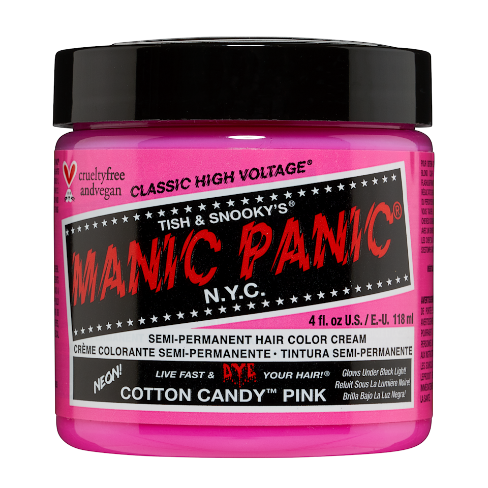 """<p>For a neon pink that's sure to shock people — in the best way possible — Manic Panic Classic High Voltage in Cotton Candy Pink goes above and beyond. In fact, it even glows under black light and lasts up to four to six weeks. </p> <p>Manic Panic is one of <a href=""""https://www.instagram.com/p/BuWrYckApIQ/"""" rel=""""nofollow noopener"""" target=""""_blank"""" data-ylk=""""slk:Ortega's go-to hair color brands"""" class=""""link rapid-noclick-resp"""">Ortega's go-to hair color brands</a>. """"Depending on what we are going for, sometimes I like to add in a touch of lavender or yellow,"""" she says. Fun fact: This is the same formula <a href=""""https://www.vogue.com/article/hilary-duff-sanity-savers?mbid=synd_yahoo_rss"""" rel=""""nofollow noopener"""" target=""""_blank"""" data-ylk=""""slk:Hilary Duff"""" class=""""link rapid-noclick-resp"""">Hilary Duff</a> used to dye her hair a <a href=""""https://www.instagram.com/p/B-5QP2gjqqr/"""" rel=""""nofollow noopener"""" target=""""_blank"""" data-ylk=""""slk:gorgeous aqua"""" class=""""link rapid-noclick-resp"""">gorgeous aqua</a> shade.</p> <p>Other pink shades: <a href=""""https://manicpanic.com/collections/pink/products/hot-hot-pink-hair-color"""" rel=""""nofollow noopener"""" target=""""_blank"""" data-ylk=""""slk:Hot Hot Pink"""" class=""""link rapid-noclick-resp"""">Hot Hot Pink</a>, <a href=""""https://manicpanic.com/collections/pink/products/cleo-rose-pink-hair-color"""" rel=""""nofollow noopener"""" target=""""_blank"""" data-ylk=""""slk:Cleo Rose"""" class=""""link rapid-noclick-resp"""">Cleo Rose</a><strong>,</strong> <a href=""""https://manicpanic.com/collections/pink/products/pretty-flamingo-neon-pink-hair-color"""" rel=""""nofollow noopener"""" target=""""_blank"""" data-ylk=""""slk:Pretty Flamingo"""" class=""""link rapid-noclick-resp"""">Pretty Flamingo</a>, <a href=""""https://manicpanic.com/collections/pink/products/electric-pink-pussycat-classic-high-voltage"""" rel=""""nofollow noopener"""" target=""""_blank"""" data-ylk=""""slk:Electric Pink Pussycat"""" class=""""link rapid-noclick-resp"""">Electric Pink Pussycat</a></p> <p><strong>$14</strong> (<a href=""""https://manicpanic.com/products/cotton-candy-pink-n"""