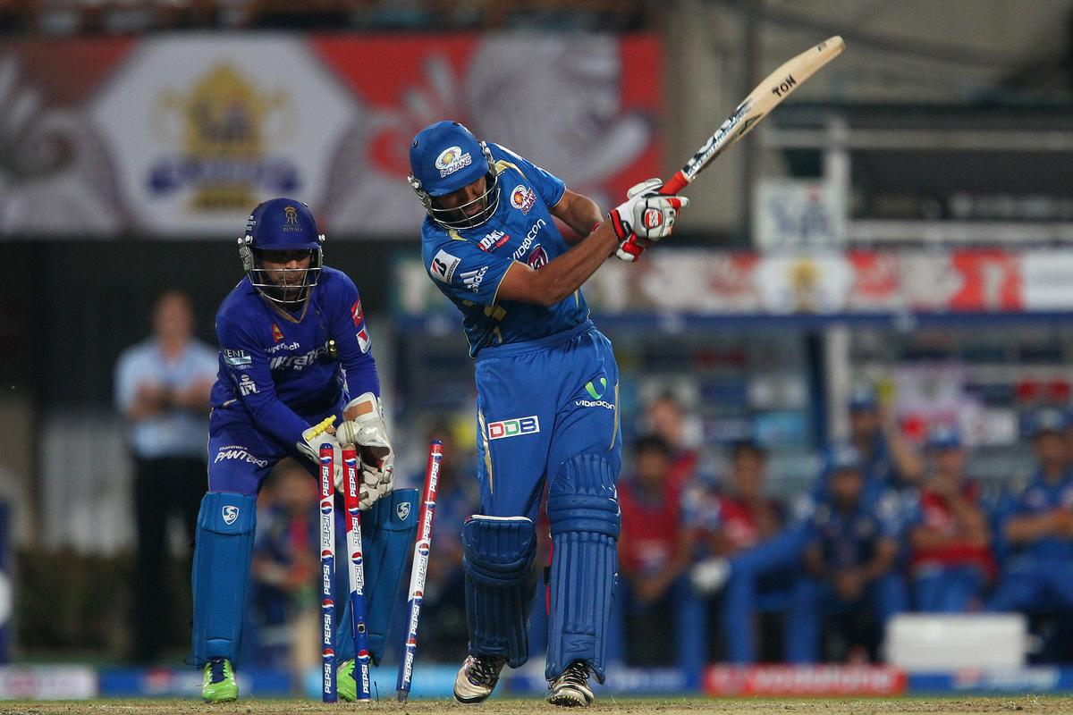 Rohit Sharma is bowled by Siddharth Trivedi during the 2nd Qualifying match of the Pepsi Indian Premier League between The Rajasthan Royals and the Mumbai Indians  held at the Eden Gardens Stadium in Kolkata on the 24th May 2013..Photo by Ron Gaunt-IPL-SPORTZPICS      ..Use of this image is subject to the terms and conditions as outlined by the BCCI. These terms can be found by following this link:..https://ec.yimg.com/ec?url=http%3a%2f%2fwww.sportzpics.co.za%2fimage%2fI0000SoRagM2cIEc&t=1490758456&sig=XbNKldUfZeVJ5gz6kxIzOw--~C