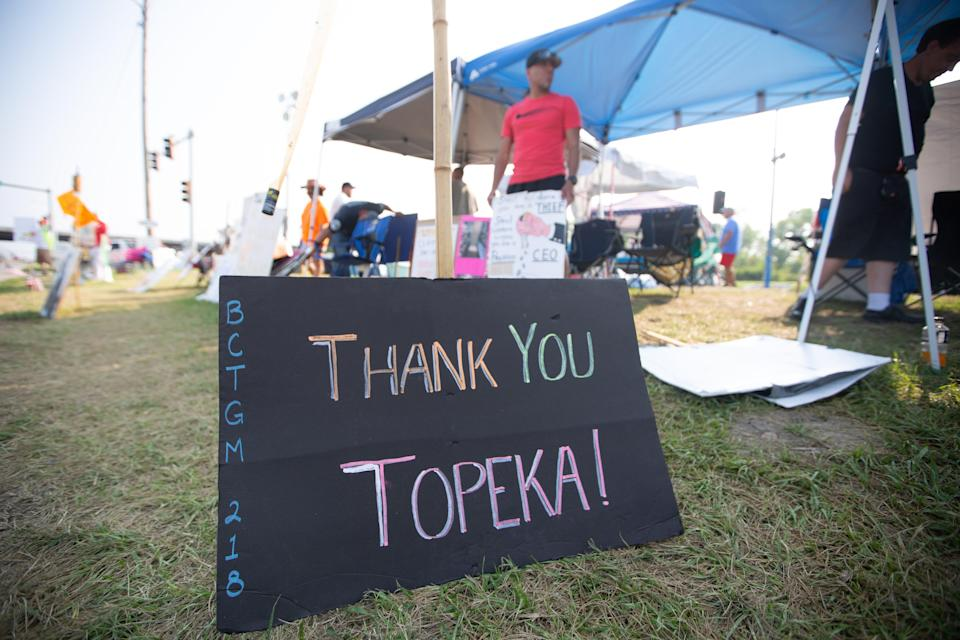 A sign sitting on the strike line across from the local Frito-Lay plant in Topeka, Kan., thanks members of the community who have shown support for Local 218 members.
