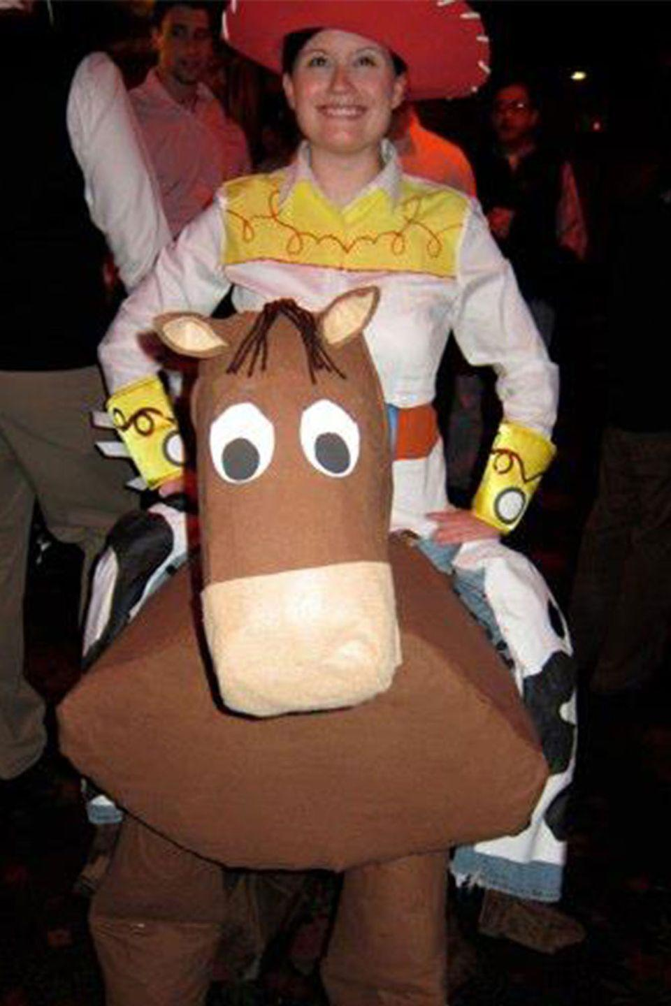 "<p>Most <a href=""https://www.amazon.com/Disguise-Toy-Story-Woody-Costume/dp/B00004Y6CZ?tag=syn-yahoo-20&ascsubtag=%5Bartid%7C10055.g.23653854%5Bsrc%7Cyahoo-us"" rel=""nofollow noopener"" target=""_blank"" data-ylk=""slk:Toy Story costumes"" class=""link rapid-noclick-resp""><em>Toy Story </em>costumes</a> you see are Buzz and Woody. A homemade ""Jessie riding Bullseye"" outfit deserves some recognition for creativity and originality. </p>"