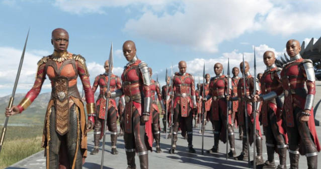 Okoye (Danai Gurira, left) with the Dora Milaje (Photo: Marvel Studios)