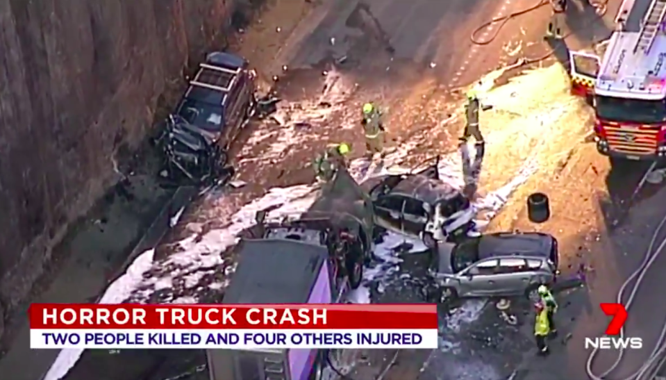 Two people are dead after a horrific truck fire on the M1 motorway north of Sydney. Source: 7 News