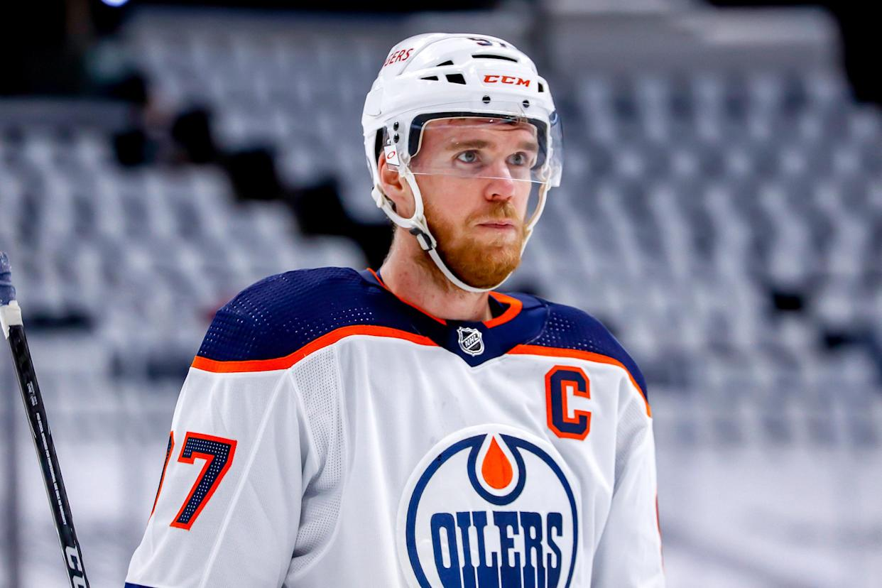 WINNIPEG, MB - MAY 23: Connor McDavid #97 of the Edmonton Oilers looks on during a first period stoppage in play against the Winnipeg Jets in Game Three of the First Round of the 2021 Stanley Cup Playoffs at the Bell MTS Place on May 23, 2021 in Winnipeg, Manitoba, Canada. (Photo by Darcy Finley/NHLI via Getty Images)
