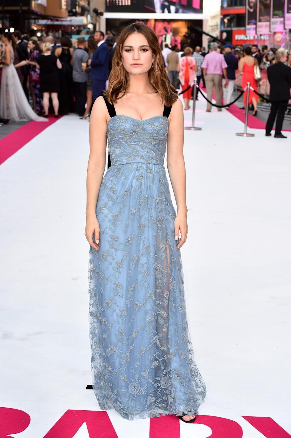 <p>The British star looked lovely in an ice blue, lace Burberry number at the premiere of her new film. <br><em>[Photo: PA]</em> </p>