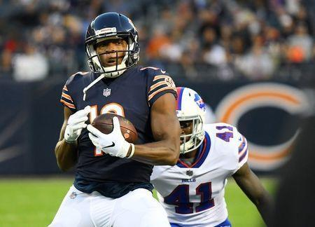 FILE PHOTO: Aug 30, 2018; Chicago, IL, USA; Chicago Bears wide receiver Bennie Fowler (13) makes a catch against Buffalo Bills cornerback Breon Borders (41) during the first quarter at Soldier Field. Mandatory Credit: Mike DiNovo-USA TODAY Sports