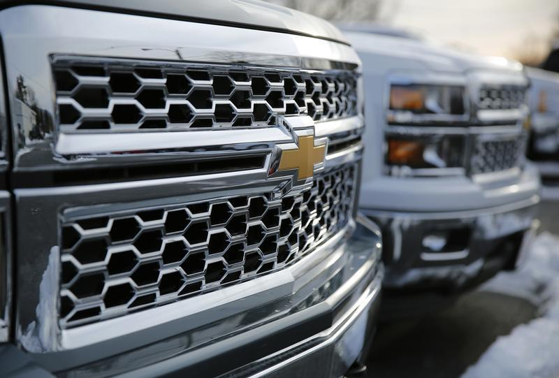2014 Chevrolet Silverado pick up trucks are pictured in Thurmont, Maryland