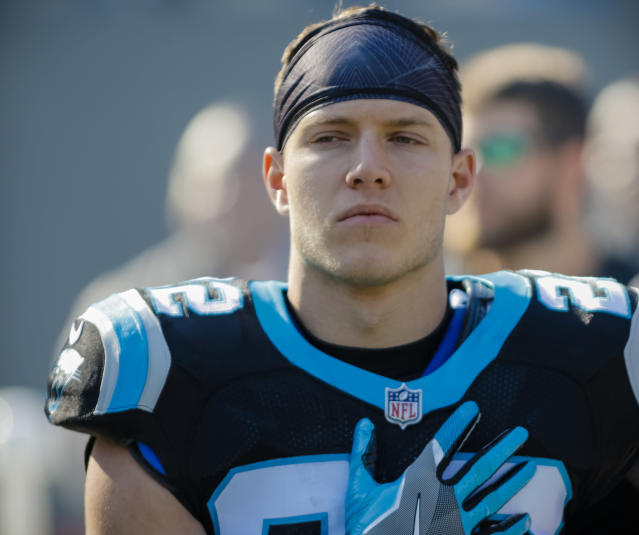 Panthers running back Christian McCaffrey helped rescue a 72-year-old man who fell on a Colorado hike. (AP)