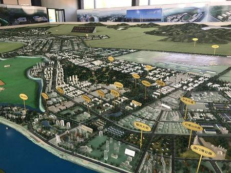 A city plan for the Dandong New Zone, 15 kilometers from the city centre, is displayed in a sales center, in Dandong, Liaoning province, China September 28, 2017. Picture taken September 28, 2017. REUTERS/ Philip Wen