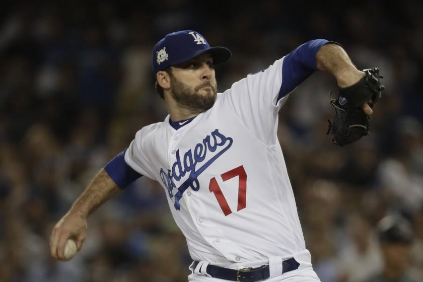 LOS ANGELES, CA, FRIDAY, OCTOBER 6, 2017 - Dodgers relief pitcher Brandon Morrow.