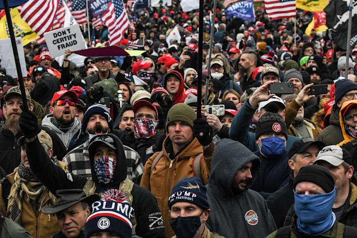 Supporters of Donald Trump participate in a 'Stop the Steal' protest outside of the Capitol building on Wednesday which erupted into violence  (REUTERS)