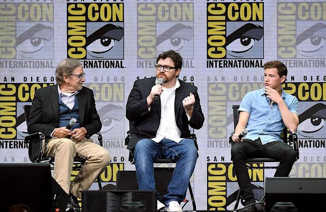 <p>Director Steven Spielberg, writer Ernest Cline, and Tye Sheridan at the Warner Bros. Pictures Presentation at Comic-Con July 22, 2017 in San Diego. (Photo: Kevin Winter/Getty Images) </p>