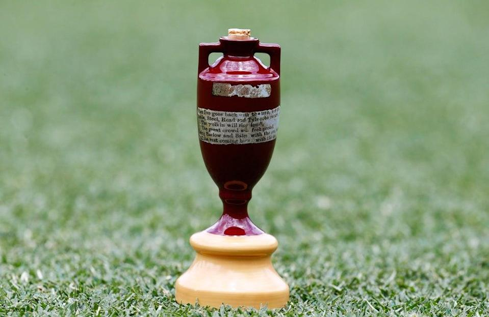The Ashes Urn on the pitch during a press conference at The Gabba, Brisbane (Jason O'Brien/PA) (PA Archive)