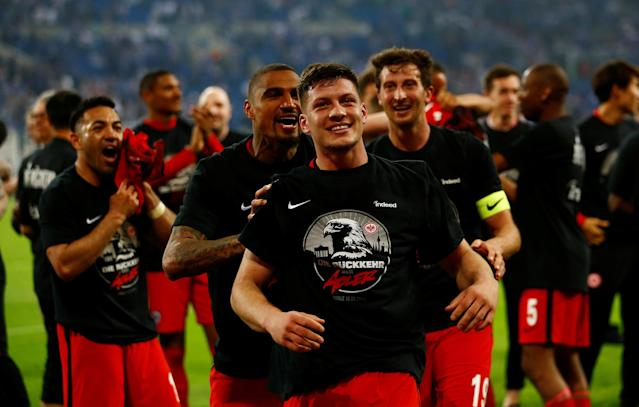 Soccer Football - DFB Cup - Schalke 04 vs Eintracht Frankfurt - Veltins-Arena, Gelsenkirchen, Germany - April 18, 2018 Eintracht Frankfurt's Luka Jovic celebrates after reaching the final REUTERS/Wolfgang Rattay DFB RULES PROHIBIT USE IN MMS SERVICES VIA HANDHELD DEVICES UNTIL TWO HOURS AFTER A MATCH AND ANY USAGE ON INTERNET OR ONLINE MEDIA SIMULATING VIDEO FOOTAGE DURING THE MATCH.