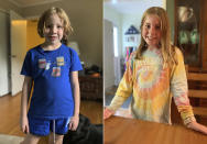 This combination of photos released by Joanne Kehoe shows her daughters Maria Beck, left, and Felicity Beck in Indianapolis, Ind. Seventh-grader Maria Beck started school on July 30. The 12-year-old is attending online full time. At first, her school district was going to offer some in-person instruction, then changed its mind. There's been a recent uptick in COVID-19 cases in her area. Eight-year-old Felicity, said she, too, is OK with distance learning. (Joanne Kehoe via AP)