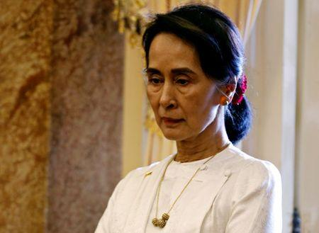 Myanmar's State Counsellor Suu Kyi is seen while she waits for a meeting with Vietnam's President Quang in Hanoi