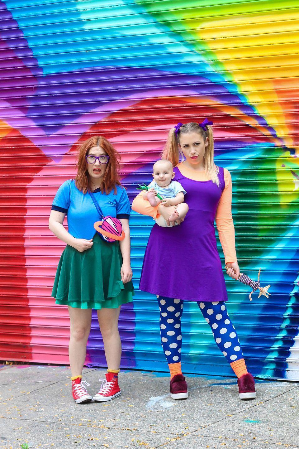 """<p>Halloween's the perfect excuse to act like a kid, so why not dress like one, too? Chucky and Angelica are two of TV's most beloved cartoon troublemakers, and their colorful costumes are surprisingly easy to DIY. </p><p><a class=""""link rapid-noclick-resp"""" href=""""https://www.amazon.com/dp/B07CPQC2YX?tag=syn-yahoo-20&ascsubtag=%5Bartid%7C10055.g.29516206%5Bsrc%7Cyahoo-us"""" rel=""""nofollow noopener"""" target=""""_blank"""" data-ylk=""""slk:SHOP PURPLE DRESSES"""">SHOP PURPLE DRESSES</a></p><p><a class=""""link rapid-noclick-resp"""" href=""""https://www.amazon.com/Urban-CoCo-Versatile-Stretchy-X-Large/dp/B017781YNE/?tag=syn-yahoo-20&ascsubtag=%5Bartid%7C10055.g.29516206%5Bsrc%7Cyahoo-us"""" rel=""""nofollow noopener"""" target=""""_blank"""" data-ylk=""""slk:SHOP GREEN SKIRTS"""">SHOP GREEN SKIRTS</a></p><p><em><a href=""""http://livingaftermidnite.com/2019/10/costumes-you-can-diy-with-an-amazon-dress.html"""" rel=""""nofollow noopener"""" target=""""_blank"""" data-ylk=""""slk:Get the tutorial at Living After Midnite »"""" class=""""link rapid-noclick-resp"""">Get the tutorial at Living After Midnite »</a></em></p>"""