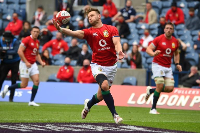 British and Irish Lions fly-half Dan Biggar catches the ball during a victory over Japan in Edinburgh on Saturday