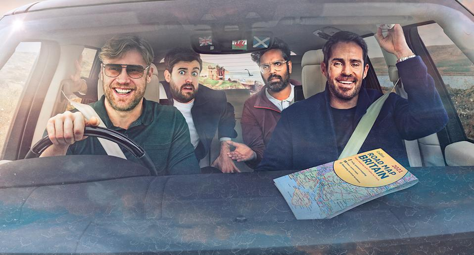 Andrew Flintoff, Jack Whitehall, Romesh Ranganathan and Jamie Redknapp in A League Of Their Own Road Trip (Sky UK)