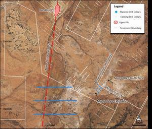 Satellite image showing Banderol N-S suture and planned AC drill hole collars at the Banderol South and RC drill hole collars at Munro Bore extension targets.