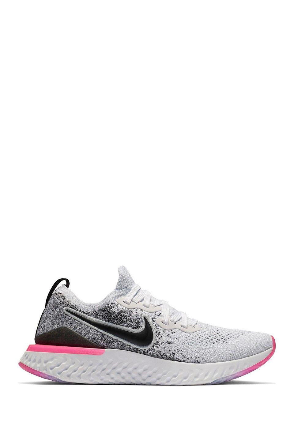 """<p><strong>Nike</strong></p><p>nordstromrack.com</p><p><a href=""""https://go.redirectingat.com?id=74968X1596630&url=https%3A%2F%2Fwww.nordstromrack.com%2Fshop%2Fproduct%2F2963805&sref=https%3A%2F%2Fwww.womenshealthmag.com%2Fstyle%2Fg33534500%2Fnordstrom-rack-nike-sale%2F"""" rel=""""nofollow noopener"""" target=""""_blank"""" data-ylk=""""slk:Shop Now"""" class=""""link rapid-noclick-resp"""">Shop Now</a></p><p><del>$150</del><strong><br>$59.97</strong></p><p>Thanks to its responsive Nike React foam sole, this pair of sneakers will literally add some pep to your step. Plus, it's not every day you find an awesome pair for nearly $100 off the asking price.<strong><br></strong></p>"""