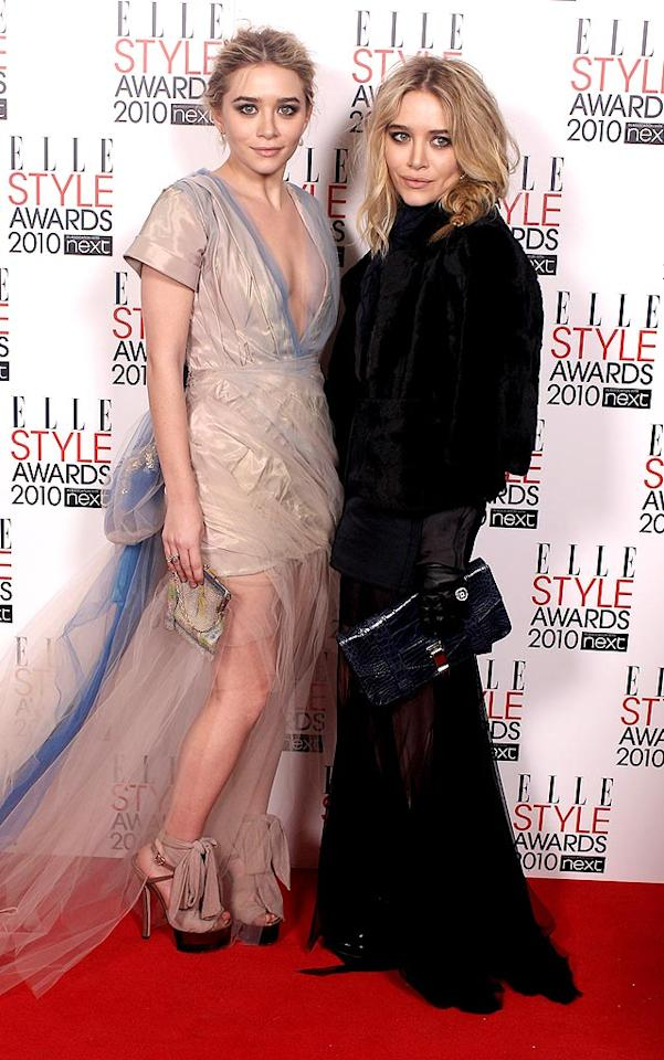 "What would the Elle Style Awards be without fashion-forward sisters Ashley and Mary-Kate Olsen? Ashley looked simply stunning in a vintage Christian Lacroix gown and fun Fendi platforms, while Mary-Kate opted for a classic black Lanvin creation, which she accessorized with Bulgari jewels and a Proenza Schouler clutch. Mike Marsland/<a href=""http://www.wireimage.com"" target=""new"">WireImage.com</a> - February 22, 2010"