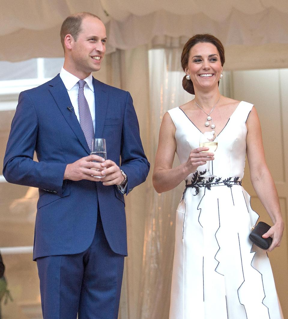 <p><strong>When:</strong> July 17, 2017 <strong>Where:</strong> A garden party in honor of the Queen's birthday in Warsaw's ?azienki Park <strong>Wearing:</strong> Gosia Baczynska white dress with black piping <strong>Get the Look:</strong> Escada Contrast-Seam Virgin Wool Crepe Dress, $1,295; <span>neimanmarcus.com</span> Tome Stretch V-Neck Peplum Dress, $548; <span>farfetch.com</span> Tahari Textured Crepe Sheath dress, $128; <span>nordstrom.com</span> Sleeveless Bodycon Dress, $124.99; <span>bebe.com</span></p>