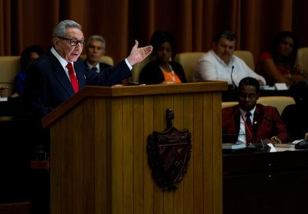 Cuban Communist Party leader Raul Castro addresses the audience during the enactment of the new constitution at the National Assembly, in Havana, Cuba April 10, 2019.  Irene Perez/Courtesy Cubadebate/Handout via REUTERS