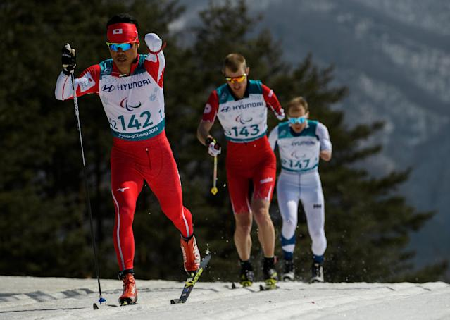 Yoshihiro Nitta JPN, Mark Arendz CAN and Ilkka Tuomisto FIN (left to right) race in the Cross-Country Skiing Standing Men's 1.5km Sprint Classic Semifinal at the Alpensia Biathlon Centre. The Paralympic Winter Games, PyeongChang, South Korea, Wednesday 14th March 2018. OIS/IOC/Thomas Lovelock/Handout via REUTERS