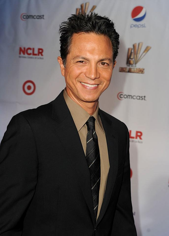 """Actor Benjamin Bratt was all smiles upon arriving at the show. The 47-year-old will reprise his guest role as the ex-husband of sexy Sofia Vergara's character on """"Modern Family"""" this season. Kevin Winter/<a href=""""http://www.gettyimages.com/"""" target=""""new"""">GettyImages.com</a> - September 10, 2011"""