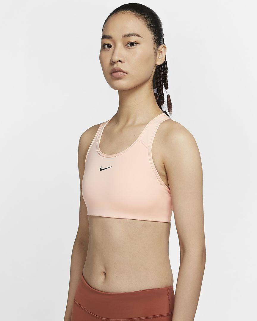 """<p>A sports bra can make or break your workout, and Lindsay Miller, deputy editor, recommends the <span>Nike Swoosh Women's Medium-Support 1-Piece Sports Bra</span> ($38). </p> <p>""""I like both support and coverage from my running bras . . . but as anyone with boobs who works out a lot knows, bra pads and laundry are a hassle waiting to happen. This bra's innovative one-piece pad stays put (it's connected to the bra by a thick thread) and doesn't get lost or misshapen in the dryer. Plus, the bra's sleek and classic design goes with all my other running gear. While I'd recommend this for smaller busts given its support level - and while I know picking a sports bra is highly personal - this gets tops ratings from me."""" - LM</p>"""